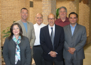 Representatives from three higher education institutions come together in Beeville to discuss an innovative Spanish program. Left to right are Director of the Center of American Studies Dr. Gabriela de La Paz of Monterrey Institute of Technology in Monterrey, Mexico; Coastal Bend College Dean of Instructional Services Dr. Bruce Exstrom; CBC President Dr. Thomas Baynum; Director of Latin American Studies Dr. Luis Duno-Gottberg of Rice University in Houston; CBC Social and Behavioral Sciences Division Chair Ed Massey; and CBC Spanish Instructor Dr. Emmanuel Alvarado.