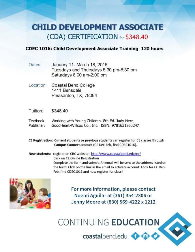 CDA Training | Coastal Bend College Media Center
